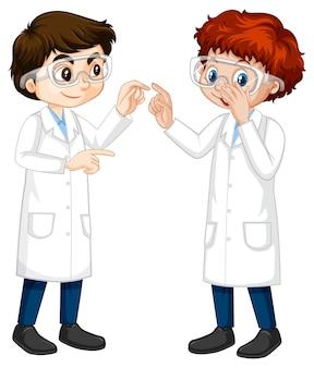 Dos jóvenes científicos hablando entre sí