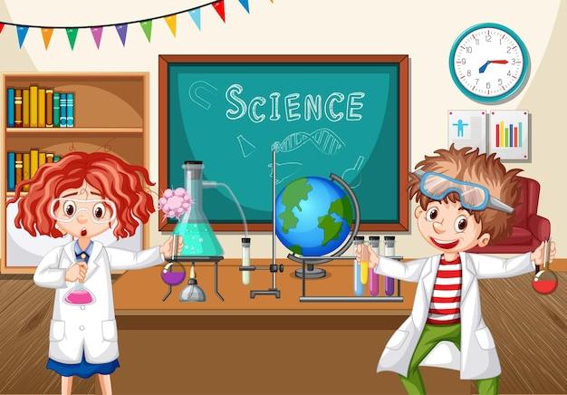 Dos jóvenes científicos haciendo experimentos de química en el aula.