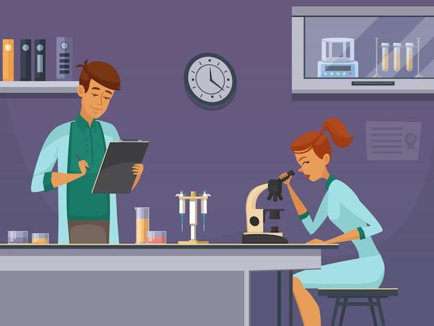 Dos jóvenes científicos en el laboratorio de química que hacen portaobjetos de microscopio y toman notas de un cartel retro de dibujos animados