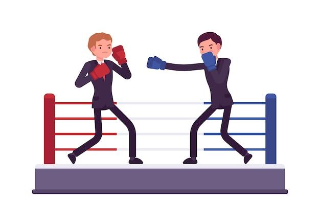 Dos jóvenes empresarios están boxeando, compitiendo por ganancias y mercado
