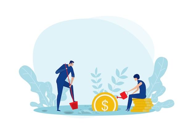 Dos jóvenes plantas de riego monedas de árbol de dinero de dólares de oro