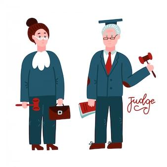 Dos jueces, mujer y hombre. trabajadores de la corte en túnica judicial con libro y hummer. concepto de ocupación profesional de justicia ley. personajes dibujados a mano de longitud completa aislado. ilustración de vector plano