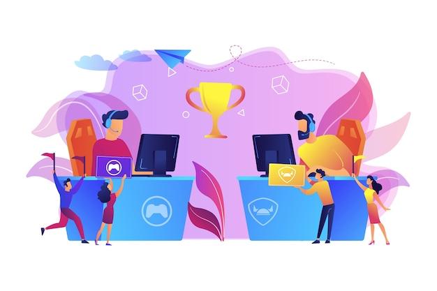 Dos jugadores de deportes cibernéticos en computadoras compitiendo por un trofeo y fanáticos vitoreando con banderas. aficionados al e-sport, fanático de los juegos de computadora, concepto de club de fans del e-sport.