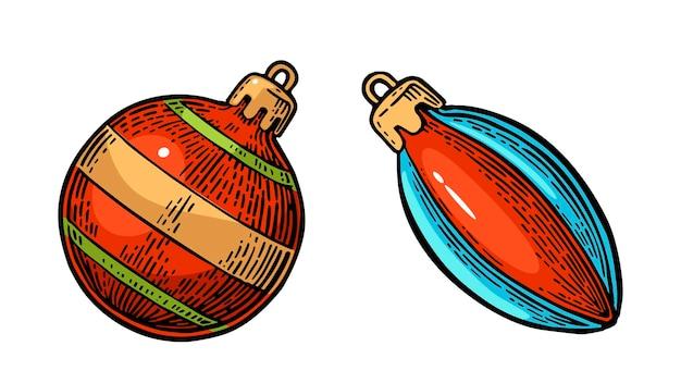 Dos juguetes para abeto. para cartel de feliz navidad y próspero año nuevo. aislado sobre fondo blanco. ilustración de grabado de color de la vendimia del vector.