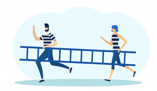 Dos ladrones en máscaras sosteniendo escalera y corriendo