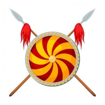 Dos lanzas cruzadas con un escudo en blanco