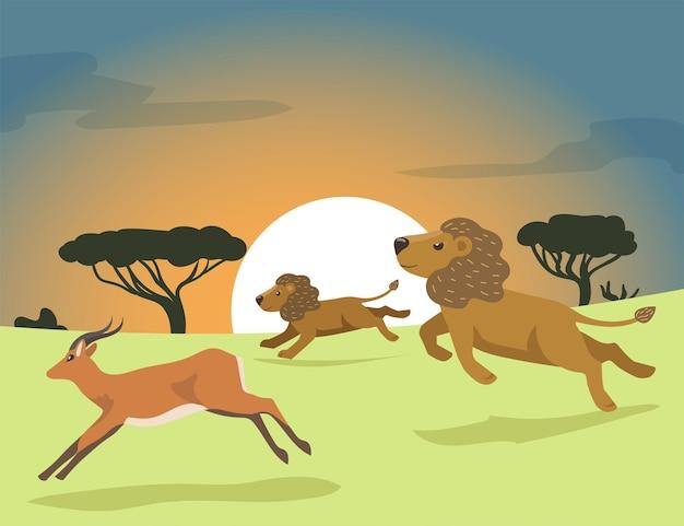 Dos leones de dibujos animados cazando en áfrica ilustración plana. orgullo de león persiguiendo antílopes al atardecer en la sabana africana. orgullo de león, caza, animal salvaje, naturaleza, áfrica, concepto de depredación para el diseño