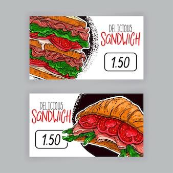 Dos lindas pancartas de apetitosos bocadillos. etiquetas de precio. ilustración dibujada a mano