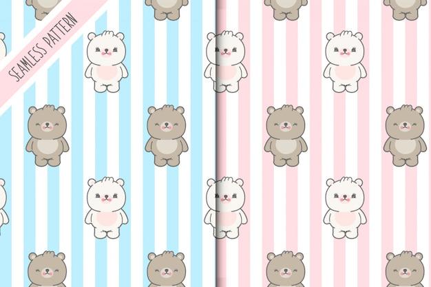 Dos lindos osos kawaii de patrones sin fisuras. prima