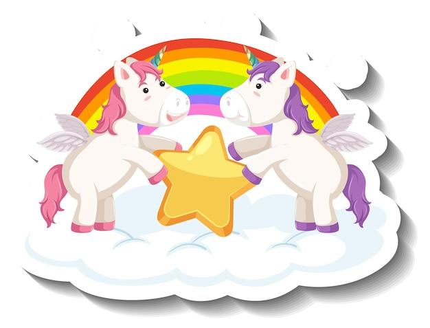 Dos lindos unicornios sosteniendo estrellas juntas de dibujos animados pegatina