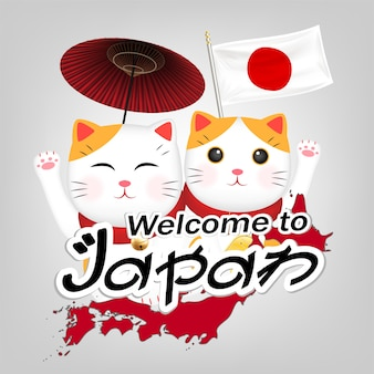 Dos maneki neko bienvenido a vector de japón
