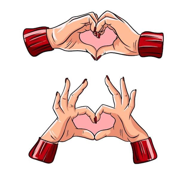 Dos manos haciendo la señal del corazón. amor, concepto de relación romántica.