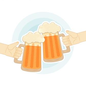 Dos manos humanas brindando con jarras de cerveza. ilustración plana para bar