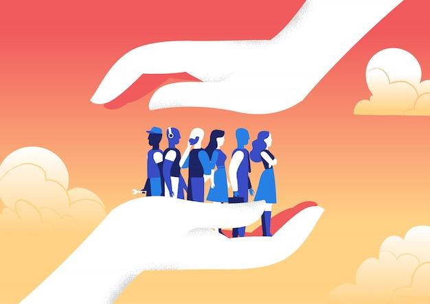 Dos manos protegen a un grupo de hombres y mujeres de amenazas externas