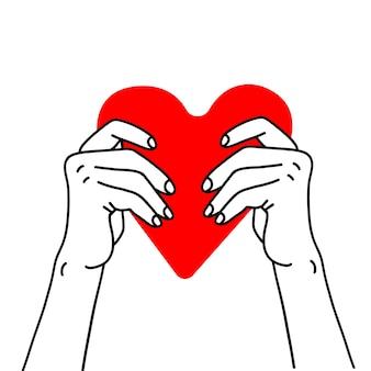 Dos manos sosteniendo corazón rojo cuidado de la salud ayudar a la caridad a donar amor y concepto de familia vector boceto li ...