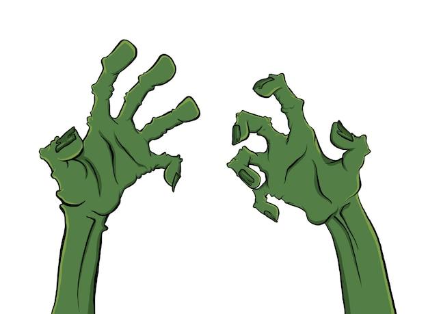Dos manos de zombie aisladas en blanco para halloween
