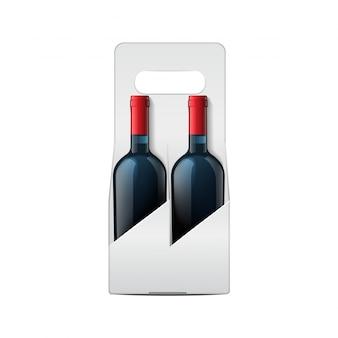 Dos maquetas de botellas de vino y paquete plegable plantilla de botella de vid.