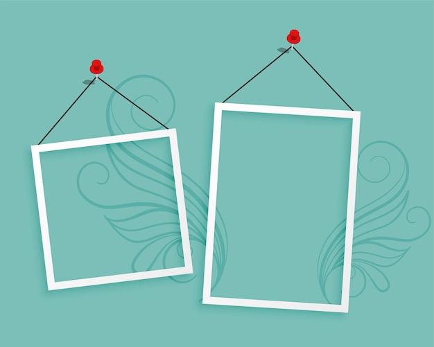 Dos marcos de fotos colgantes diseño de fondo en blanco