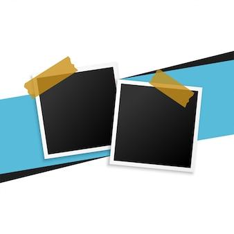 Dos marcos de fotos con fondo de cinta