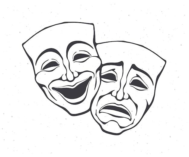 Dos máscara teatral de comedia y drama esquema símbolo de trastorno bipolar ilustración vectorial