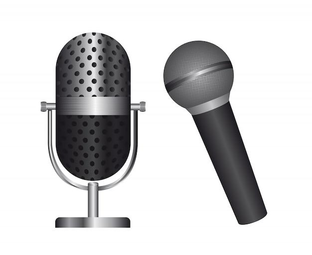 Dos micrófonos aislados sobre fondo blanco