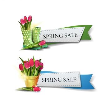 Dos modernos banners de venta de primavera.