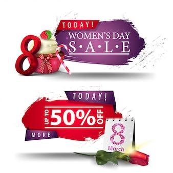 Dos modernos carteles de descuento para el día de la mujer con botones.