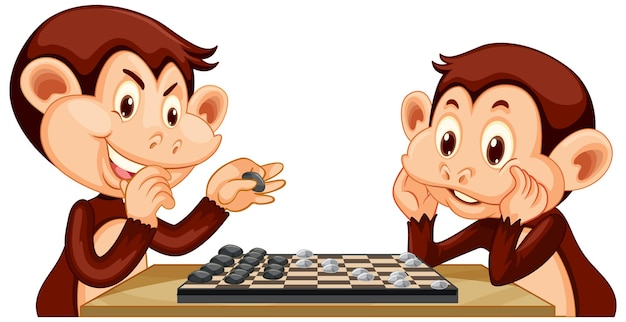 Dos monos jugando al ajedrez juntos sobre fondo blanco.