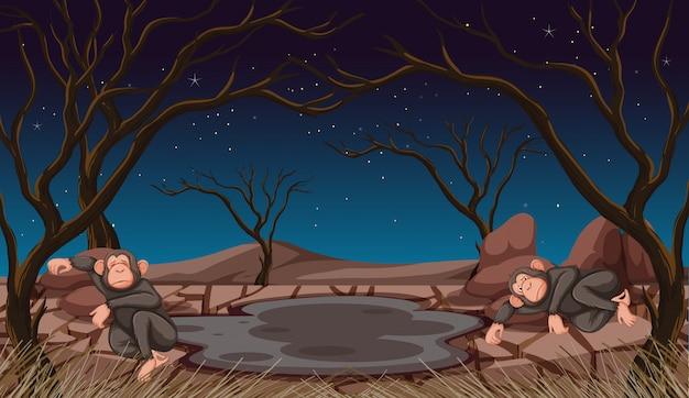 Dos monos muriendo en tierra de sequía