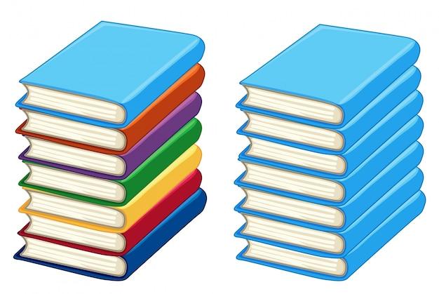 Dos montones de libros gruesos
