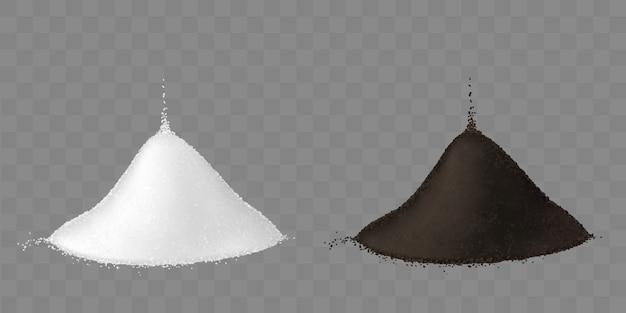 Dos montones de sal y pimienta negra molida