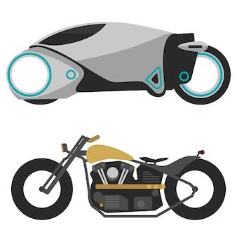 Dos motocicletas en moto blanca, moderna, futurista y vieja motocicleta retro