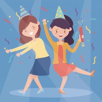 Dos mujeres amigables bailando feliz celebración