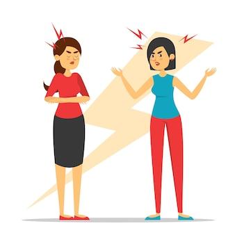 Dos mujeres discuten. señora enojada gritando a un amigo