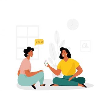 Dos mujeres discuten el suministro de noticias