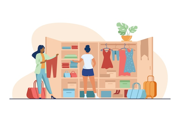 Dos mujeres eligiendo ropa para viajar desde el armario. ropa, vestido, equipaje ilustración vectorial plana. concepto de moda y vacaciones