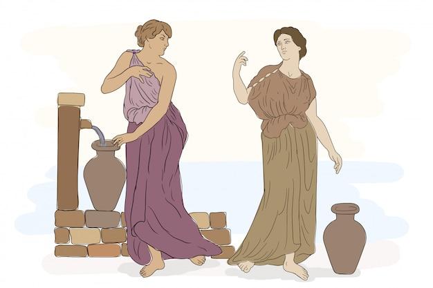 Dos mujeres griegas antiguas con túnicas recogen agua en jarras.