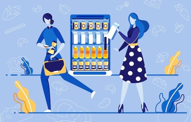 Dos mujeres haciendo compras en supermercado plano.