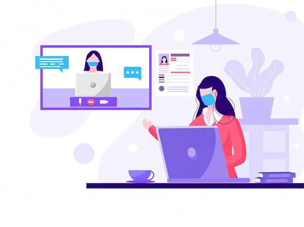 Dos mujeres haciendo videollamadas desde la computadora portátil para mantener el distanciamiento social.