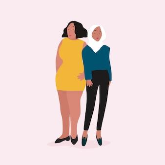 Dos mujeres independientes diversas vectoriales