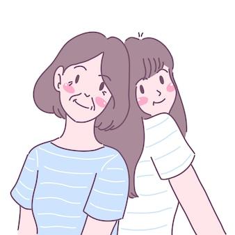 Dos mujeres jóvenes chocaron felizmente con sus espaldas.