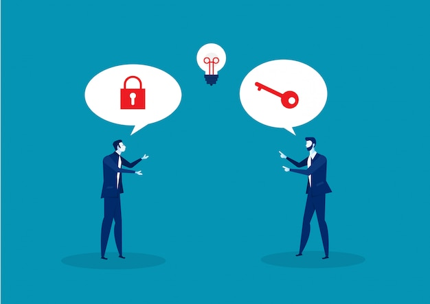 Dos negocios resolviendo al vector de concepto de éxito clave