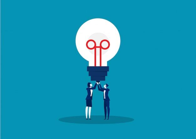 Dos negocios sosteniendo una bombilla ideas. ilustración vectorial