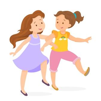 Dos niñas felices corriendo tomados de la mano