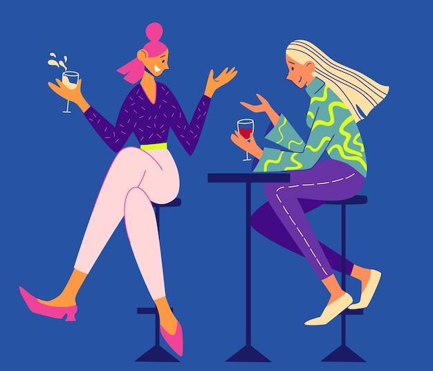 Dos niñas hablando y bebiendo en un café. dos niñas sonrientes sentadas en sillones y charlando. amistad femenina. cita. pasando tiempo juntos. vector ilustración plana.
