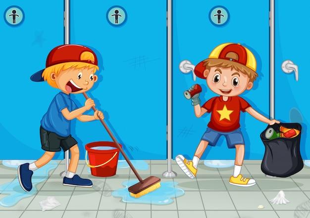 Dos niños ayudan a limpiar el inodoro