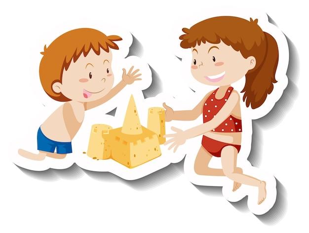 Dos niños construyendo personaje de dibujos animados de castillo de arena pegatina