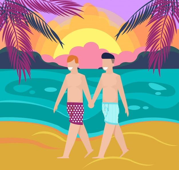Dos niños homosexuales sonrientes felices caminando en la playa