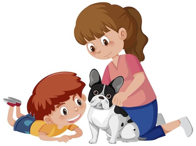 Dos niños jugando con lindo perro sobre fondo blanco.