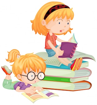 Dos niños leyendo libros en la escuela.